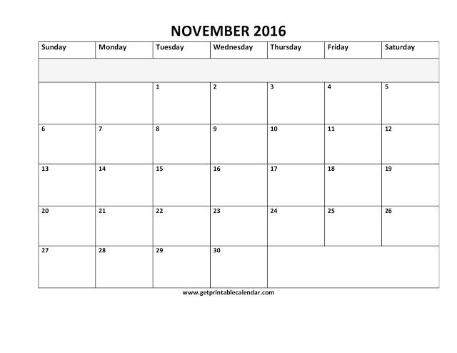 Printable Calendar 2016: November 2016 Calendar PDF | Excel | Word