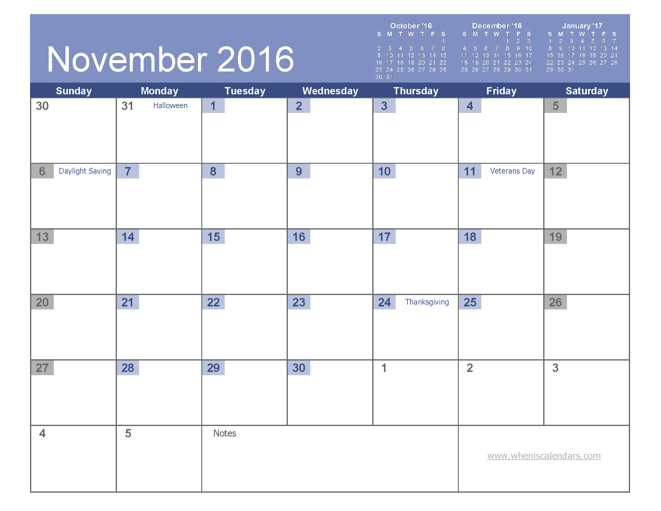 November 2016 Calendar Printable With Holidays | monthly calendar