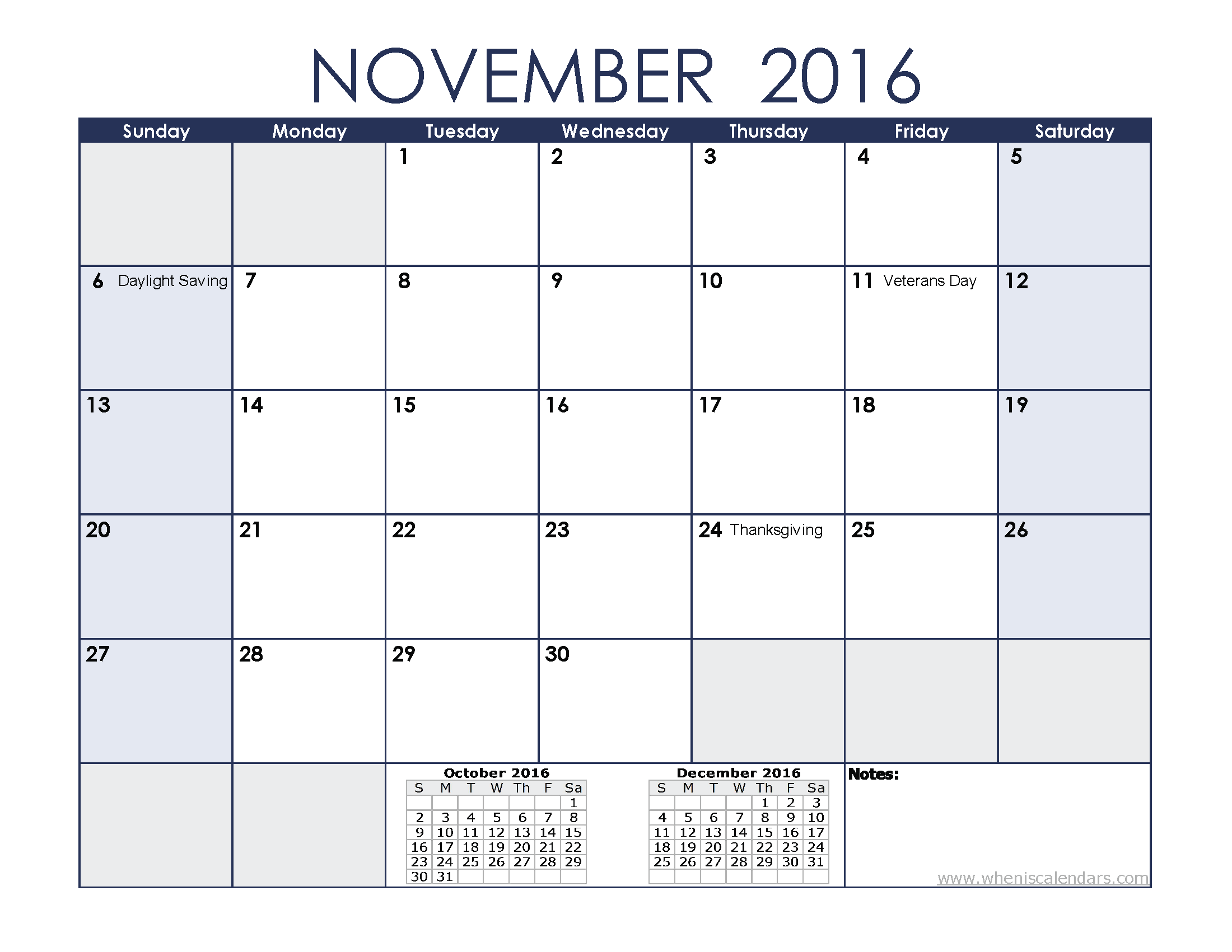 November 2016 Calendar Printable With Holidays | 2017 calendar