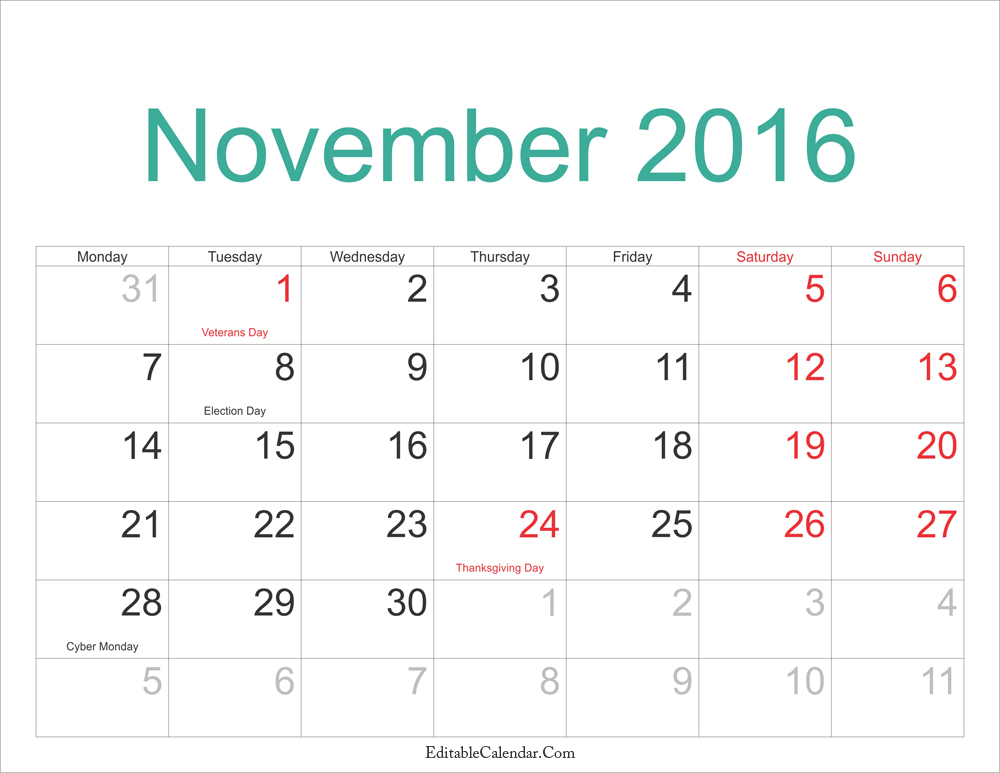 November Calendar 2016 Printable Archives October 2016 Calendar