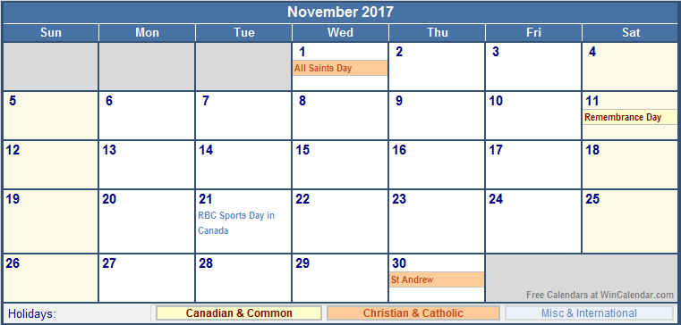 November 2017 Calendar Canada | monthly calendar printable