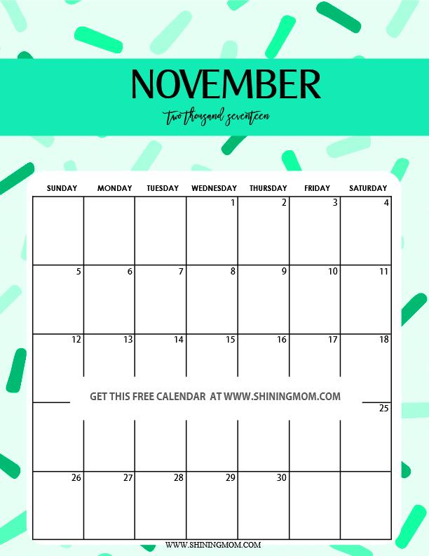 November 2017 Calendar Cute