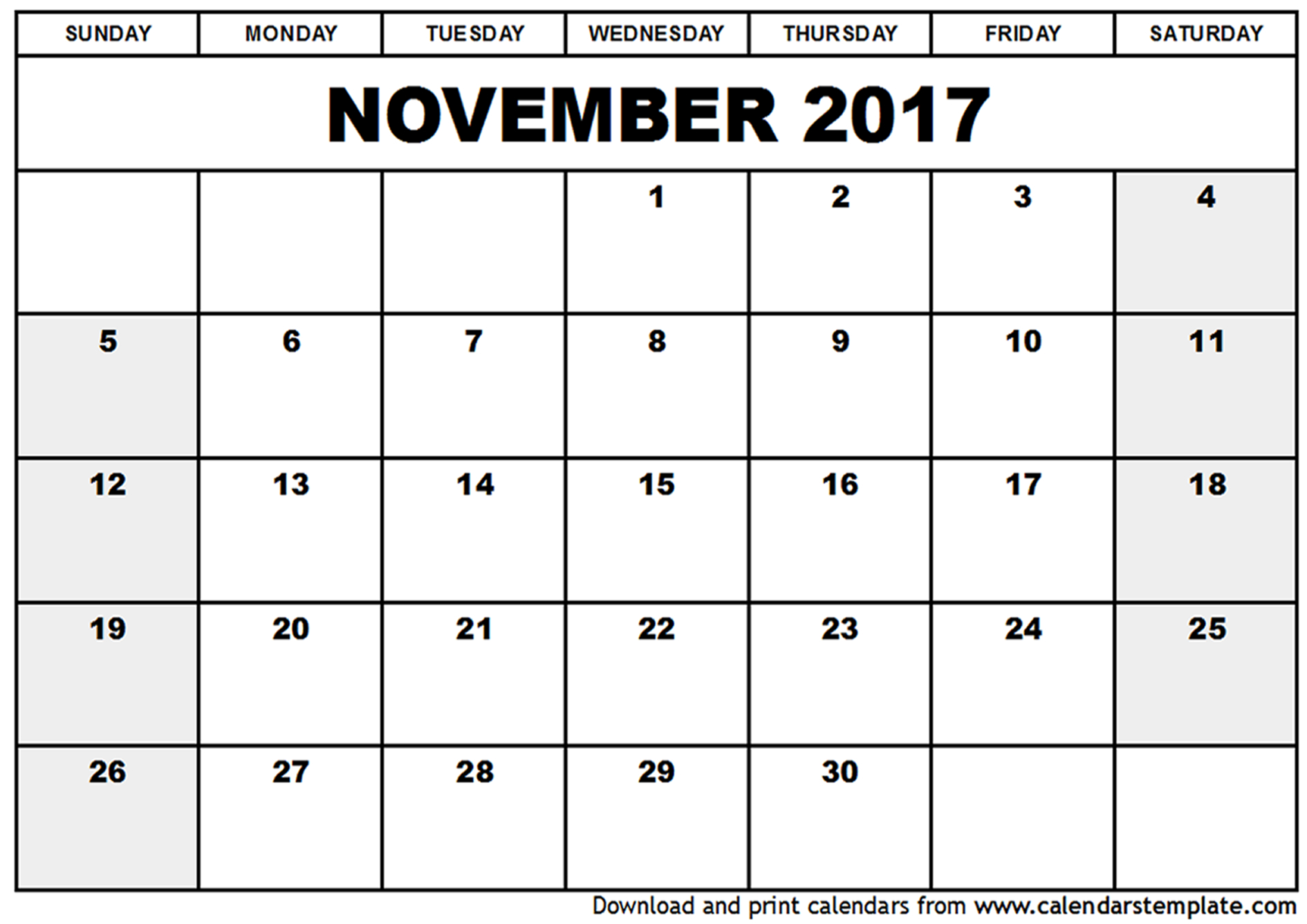 November 2017 Calendar Cute | weekly calendar template