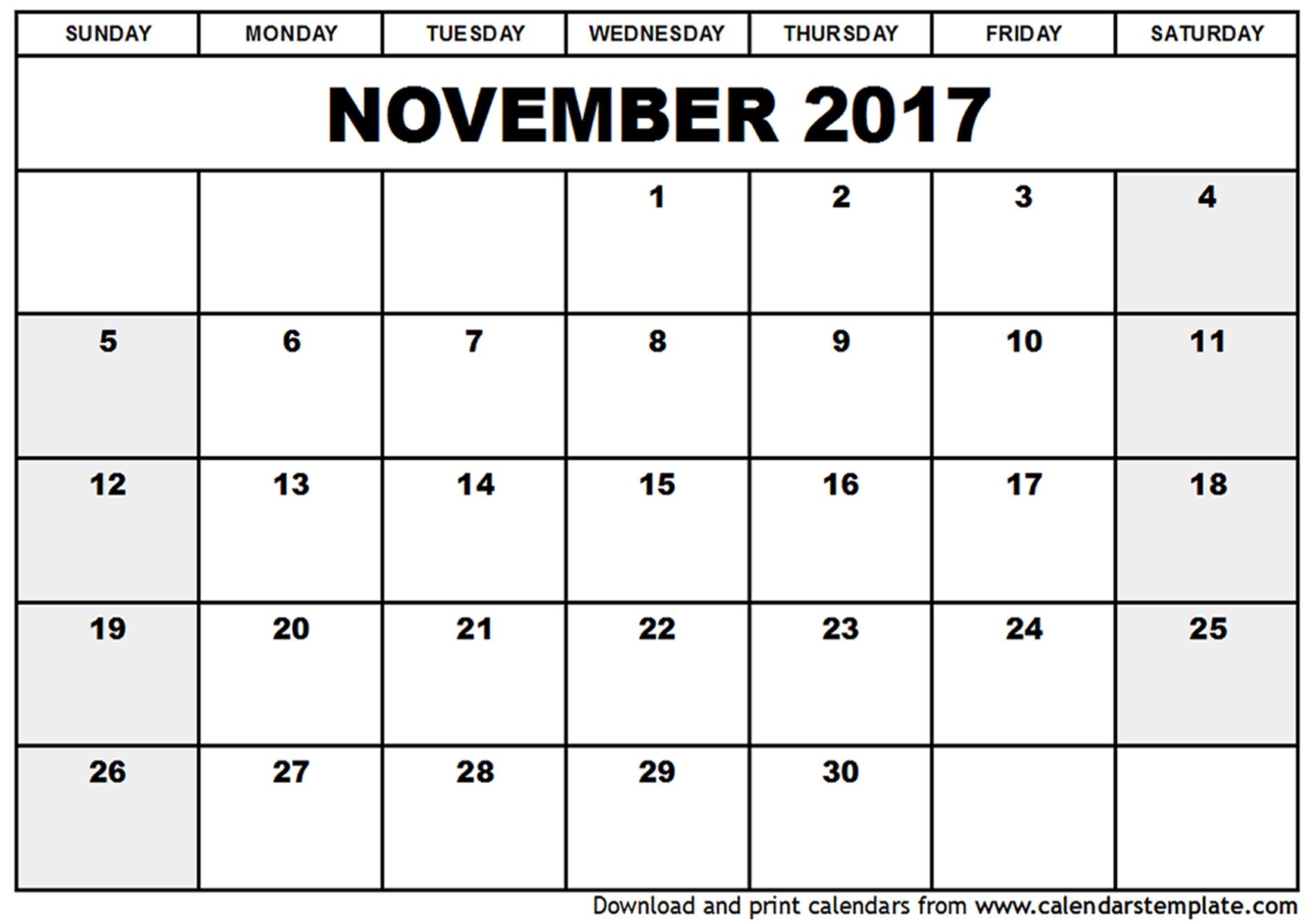 November 2017 Calendar Cute | weekly calendar template