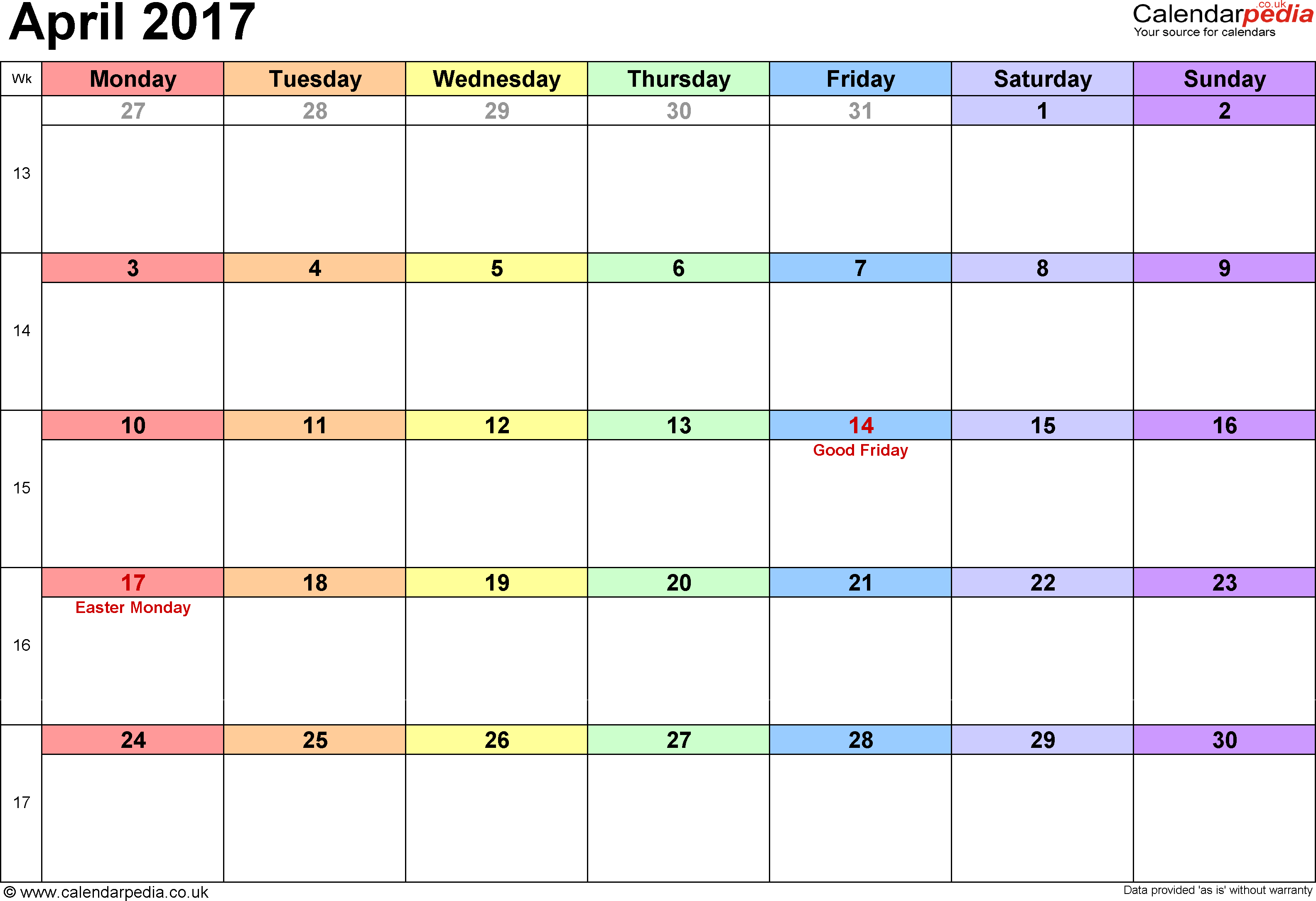 April 2017 Calendar Cute | weekly calendar template