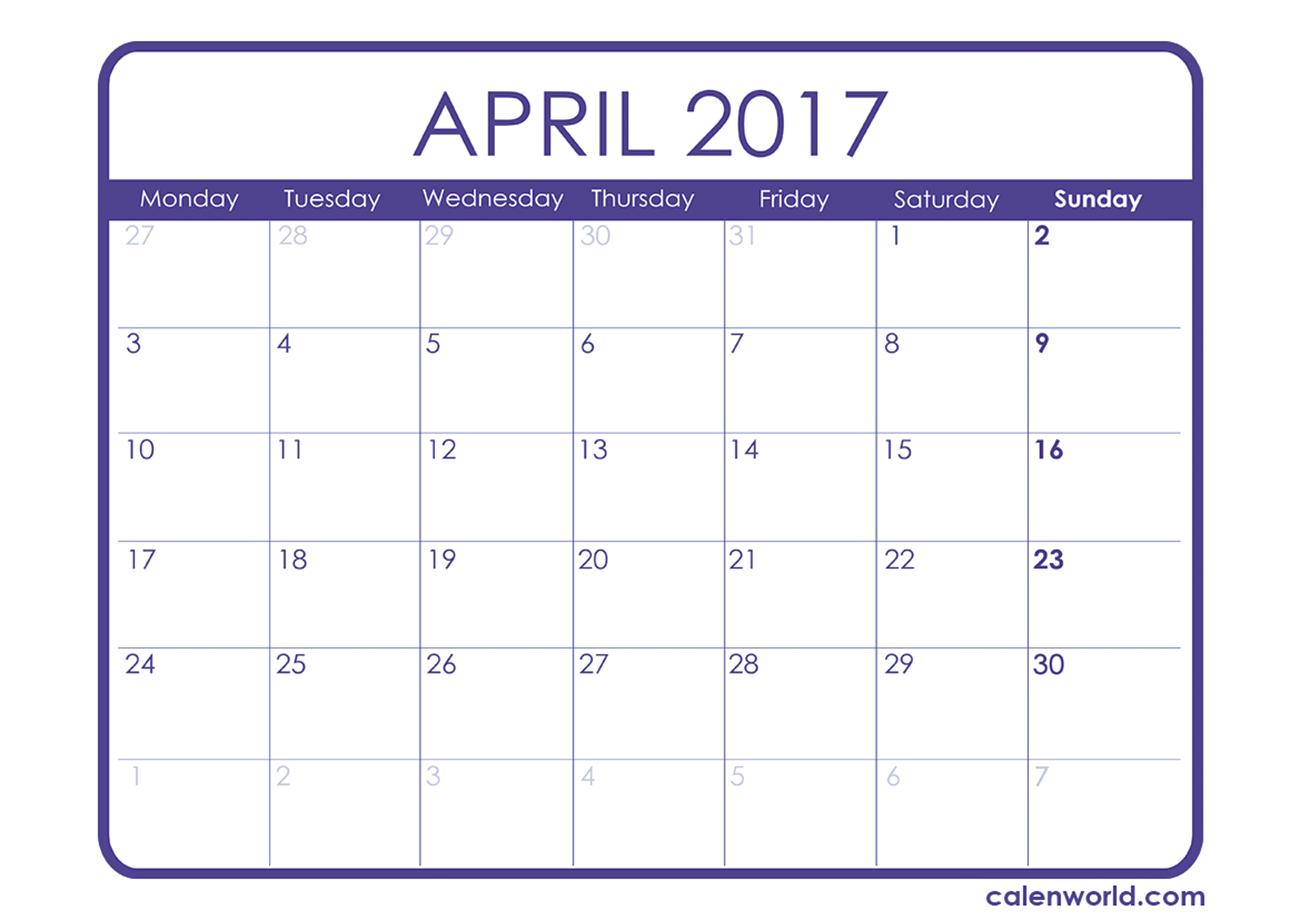 November 2017 Calendar Easter | monthly calendar printable