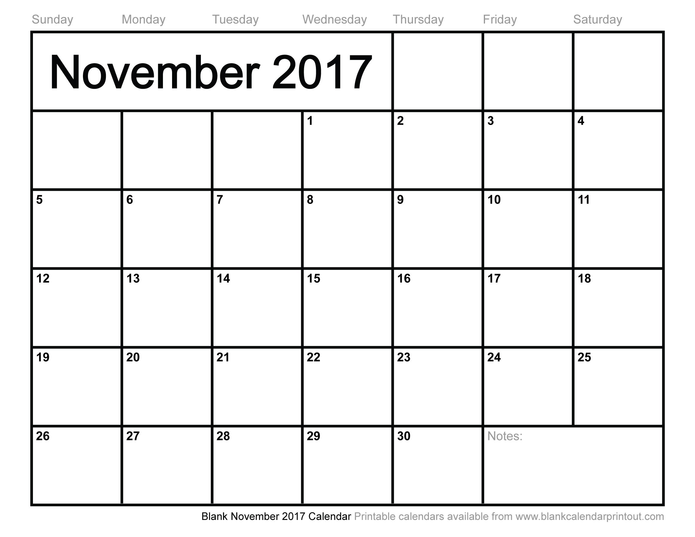 Blank November 2017 Calendar to Print