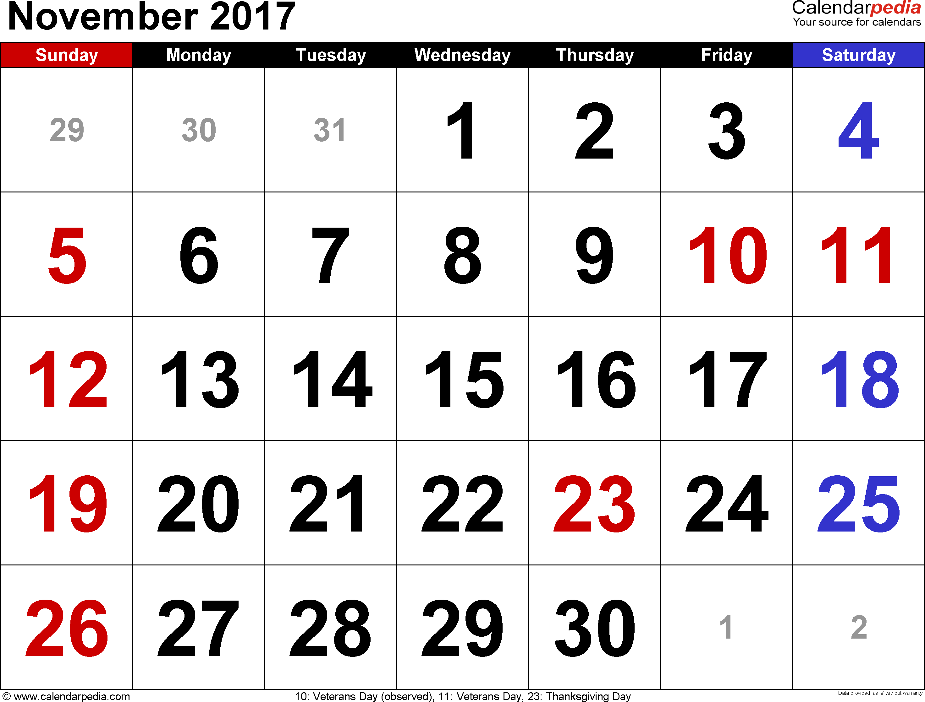 November 2017 Calendars for Word, Excel & PDF