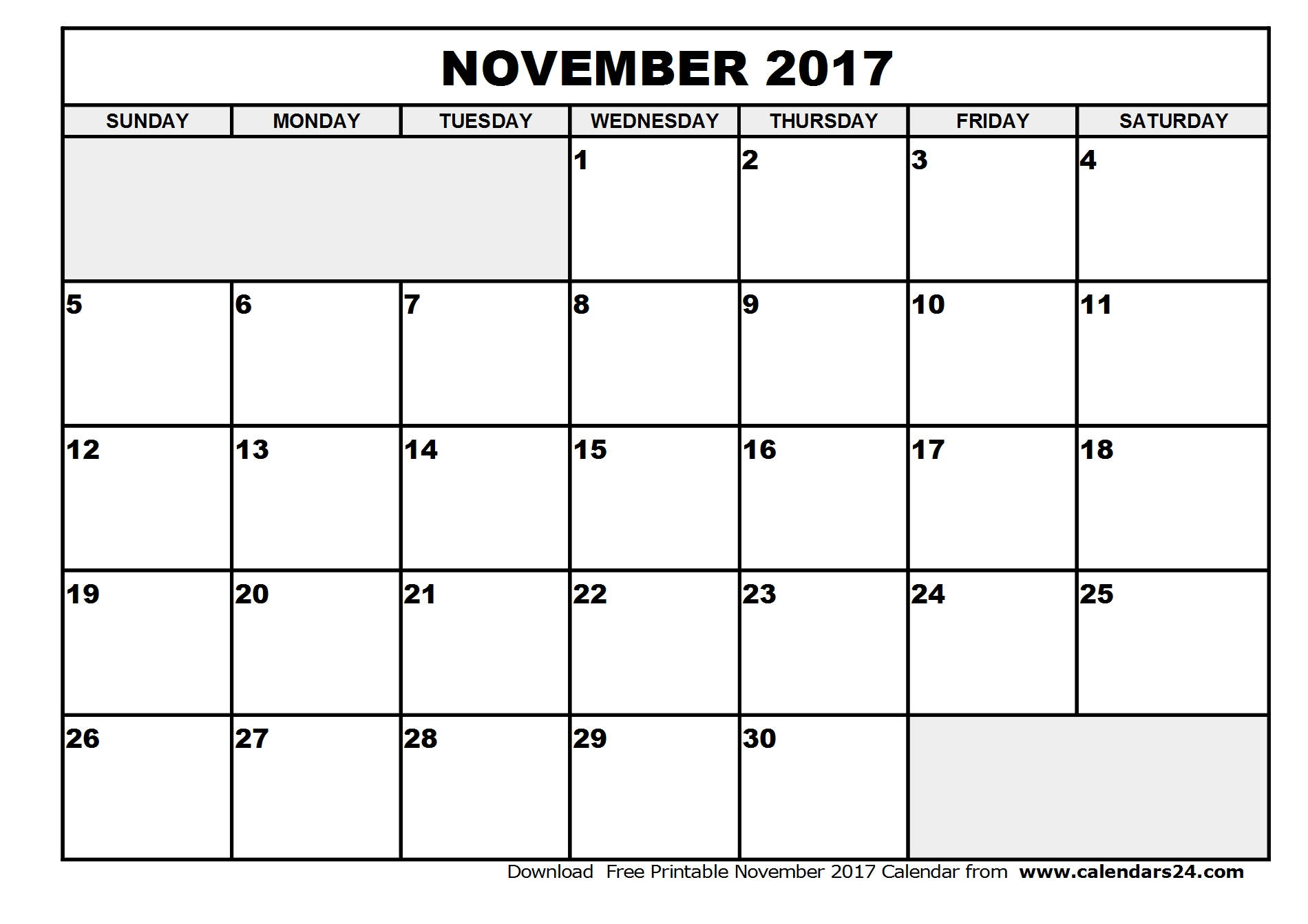 November 2017 Calendar & December 2017 Calendar
