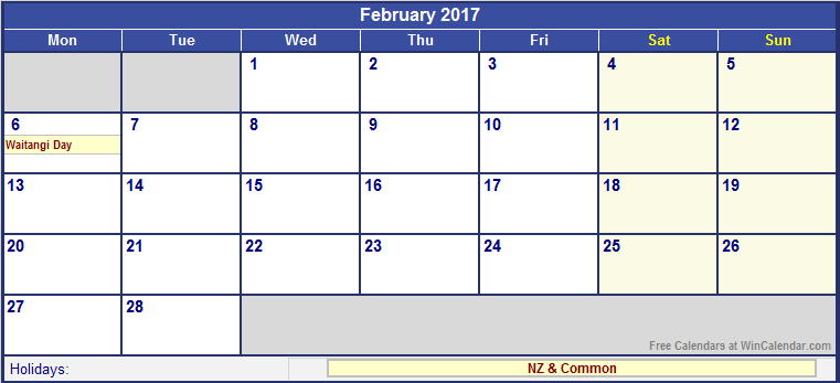 November 2017 Calendar Nz | weekly calendar template