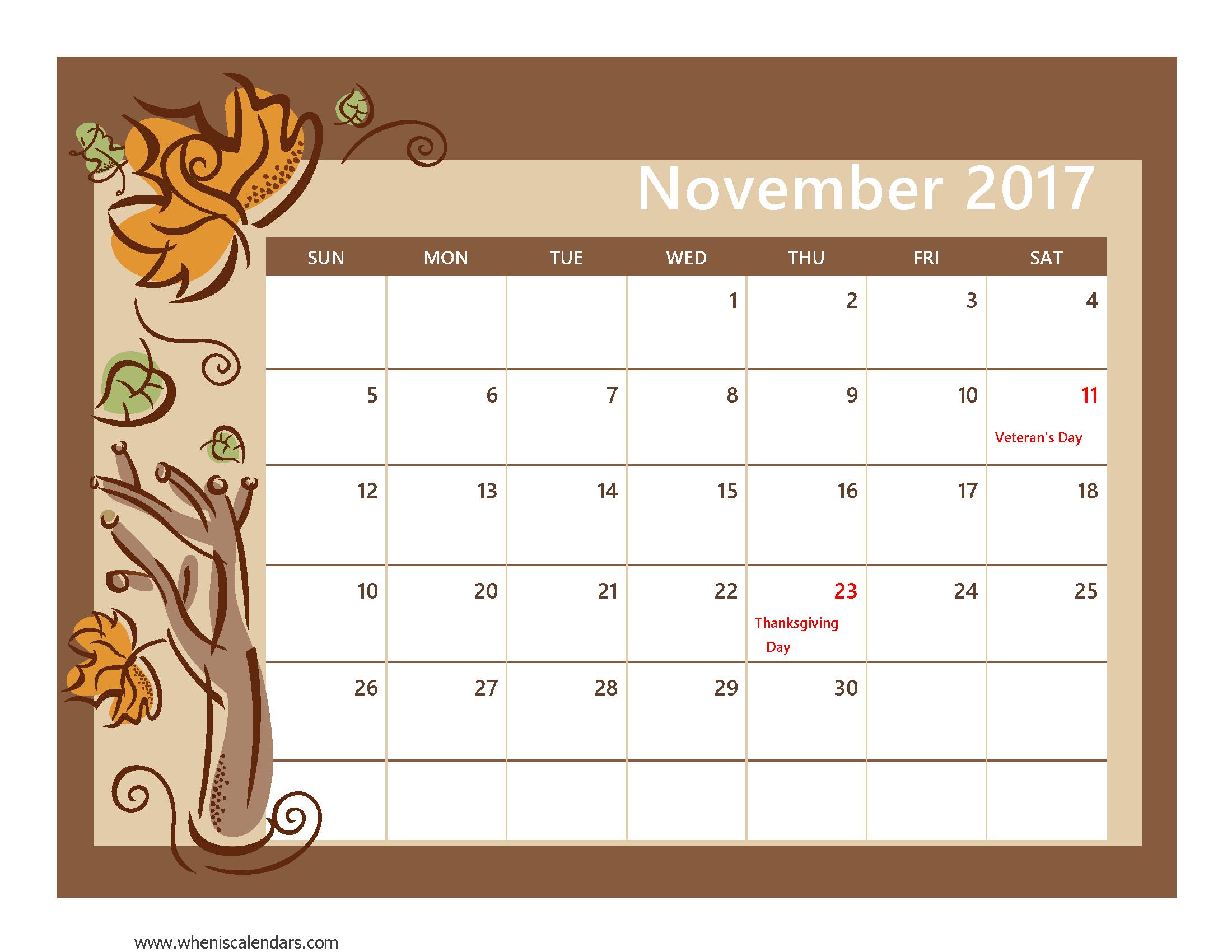 November 2017 Calendar Pdf | weekly calendar template