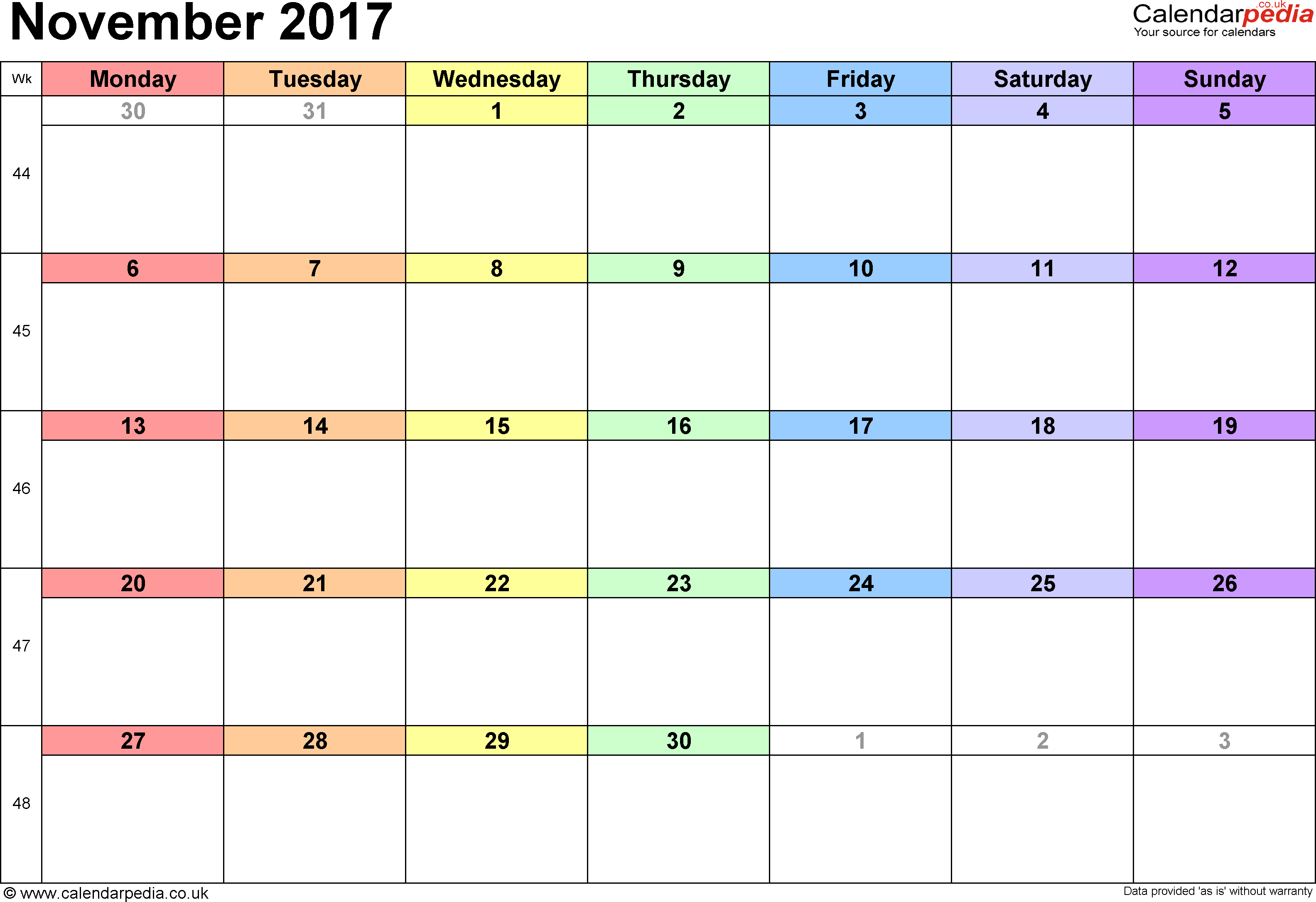 November 2017 Calendar Printable With Holidays | weekly calendar