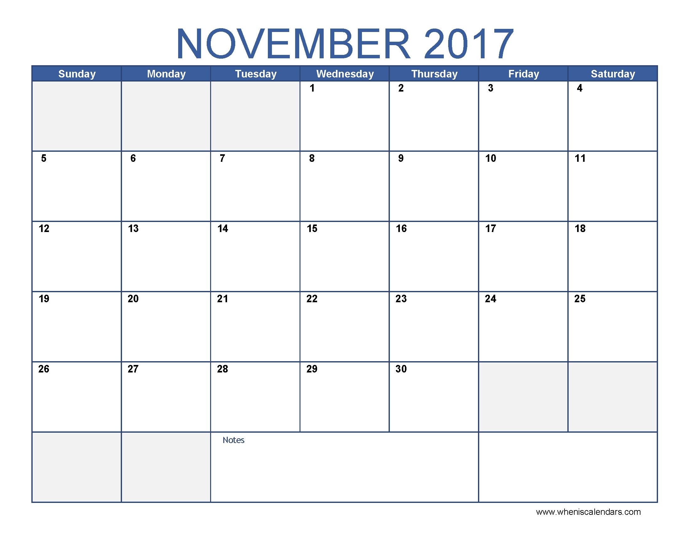 November 2017 Calendar Template | free calendar 2017