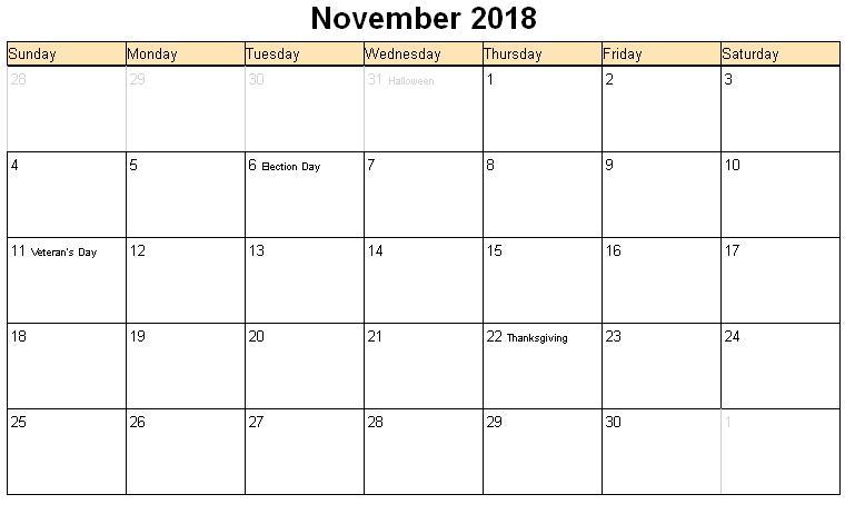 November 2018 Calendar | 2017 calendar with holidays