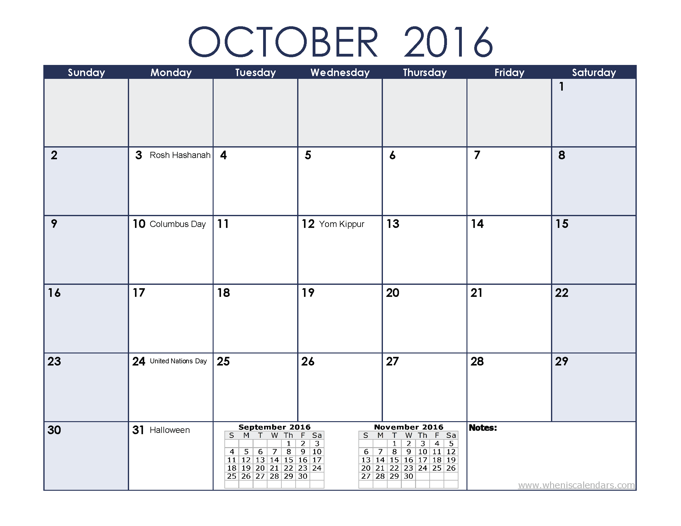 October 2016 Calendar Printable With Holidays