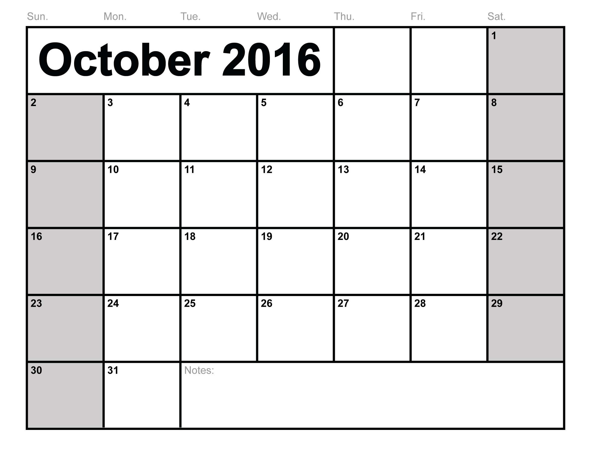 October 2016 Calendar Printable With Holidays | monthly calendar