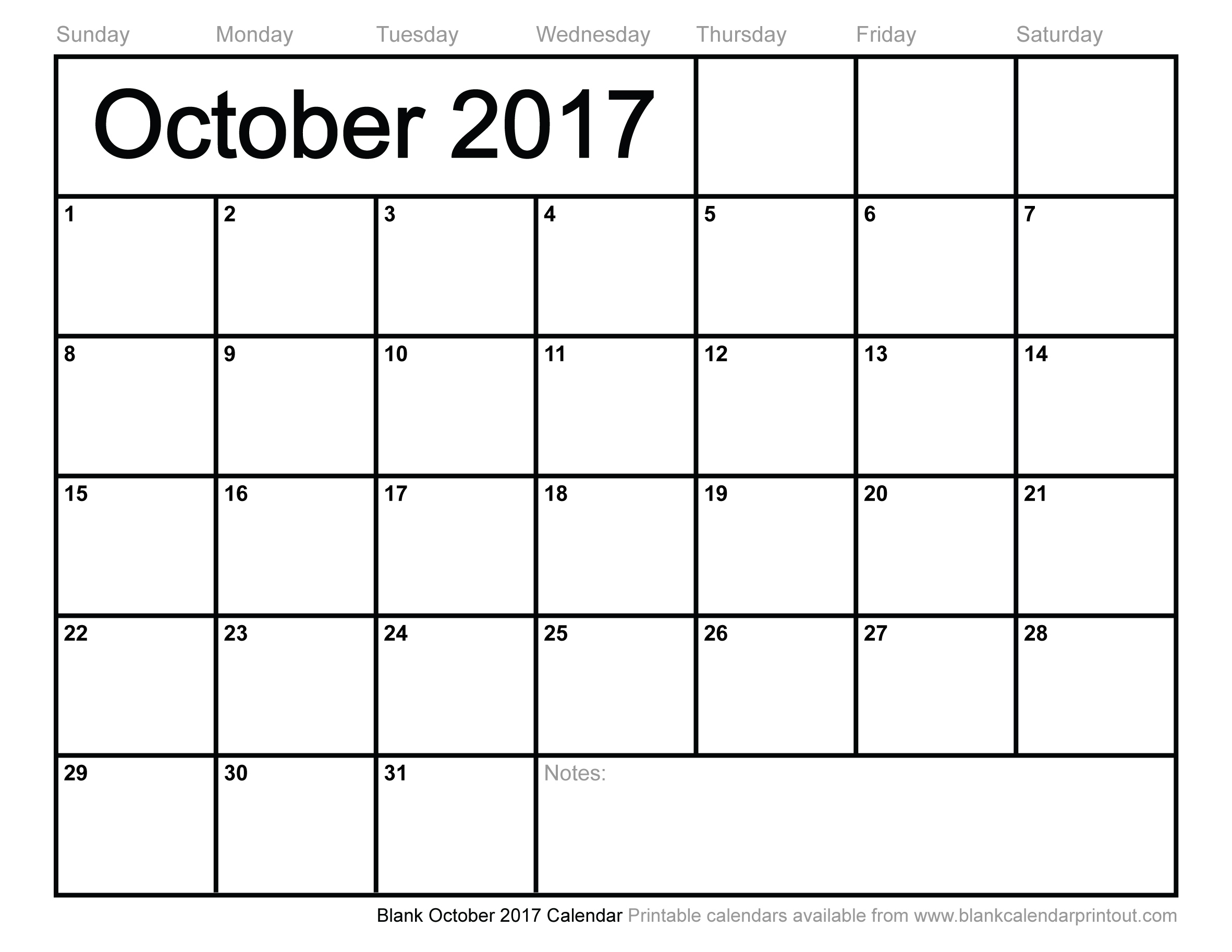 Blank October 2017 Calendar to Print