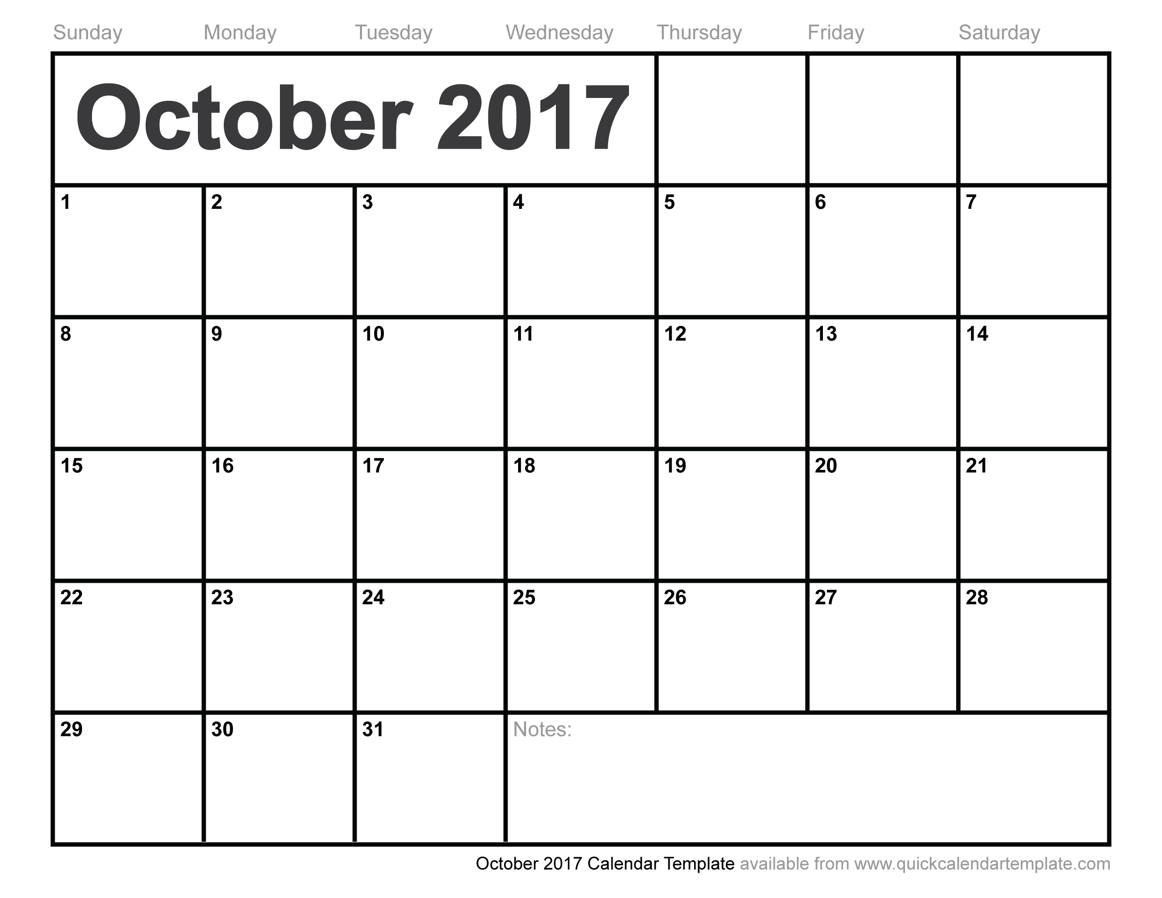 October 2017 Calendar Cute | weekly calendar template