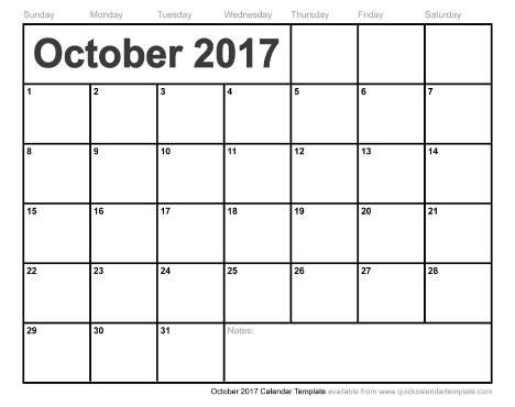Free Printable October 2017 Calendar
