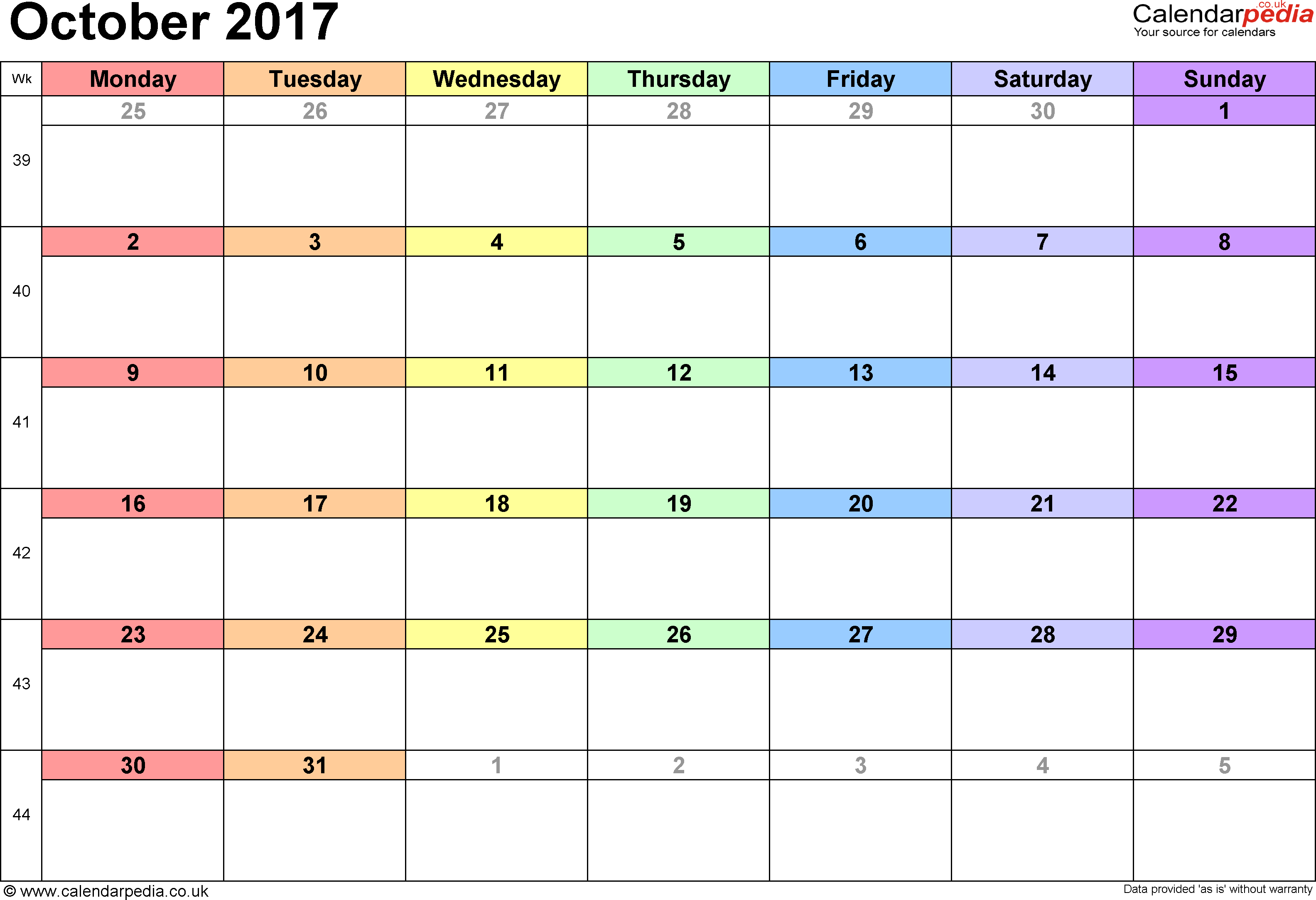 Calendar October 2017 UK, Bank Holidays, Excel/PDF/Word Templates