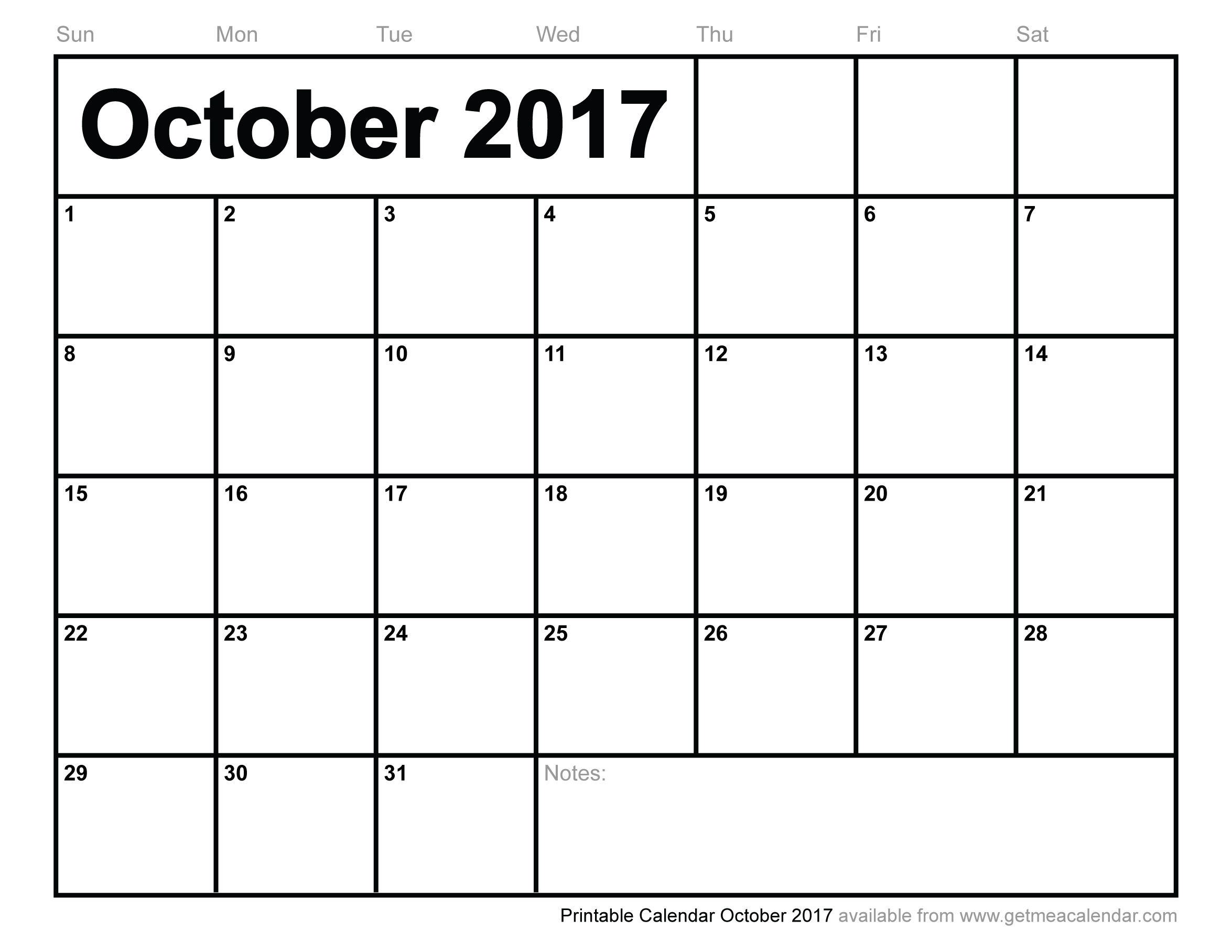 October 2017 Calendar Excel | weekly calendar template