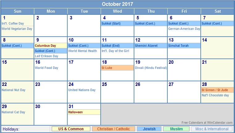 October 2017 Calendar Printable With Holidays | weekly calendar