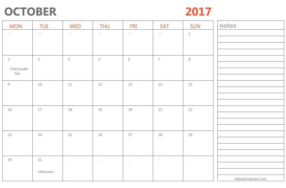 Editable October 2017 Calendar Template Ms Word, PDF