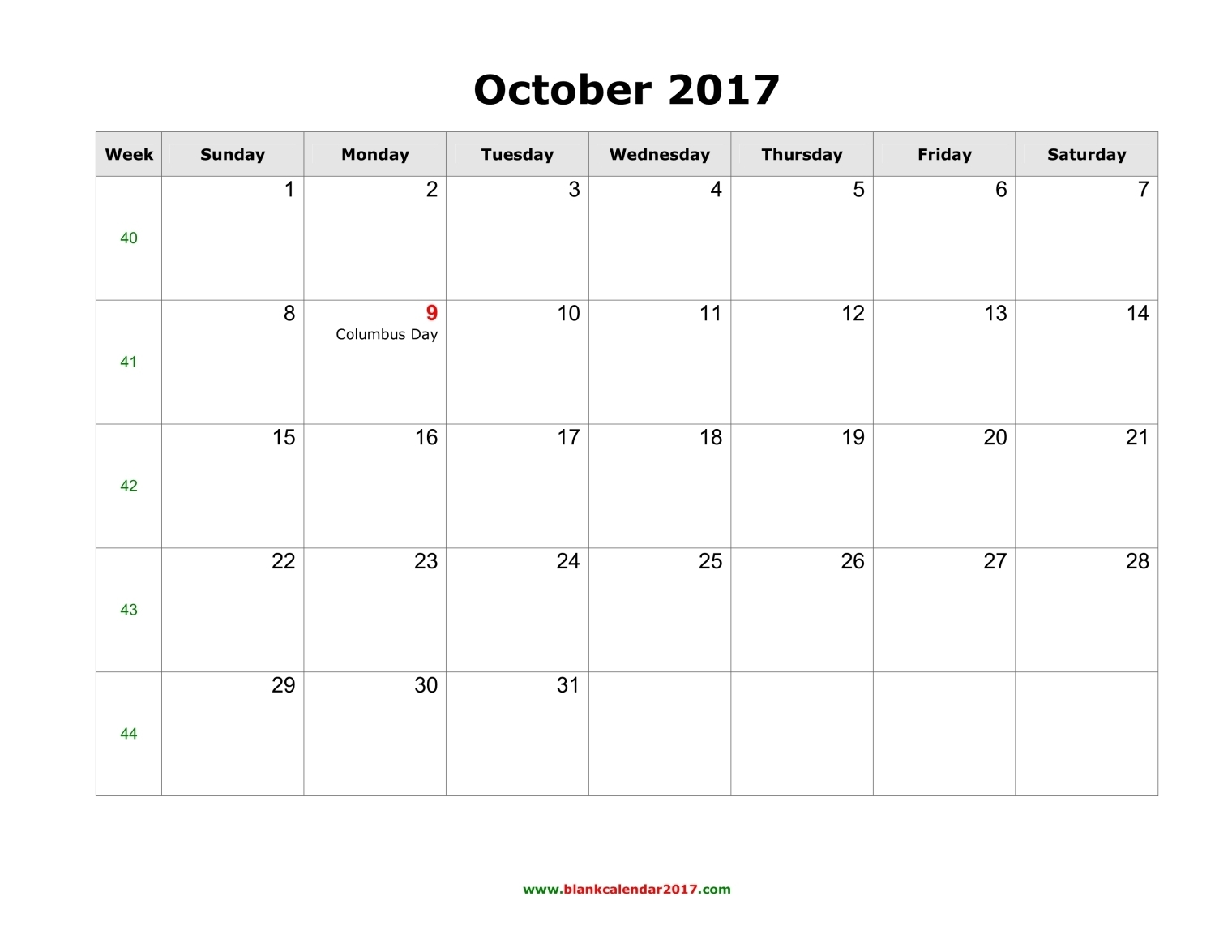 October 2017 Calendar With Holidays Canada | monthly calendar