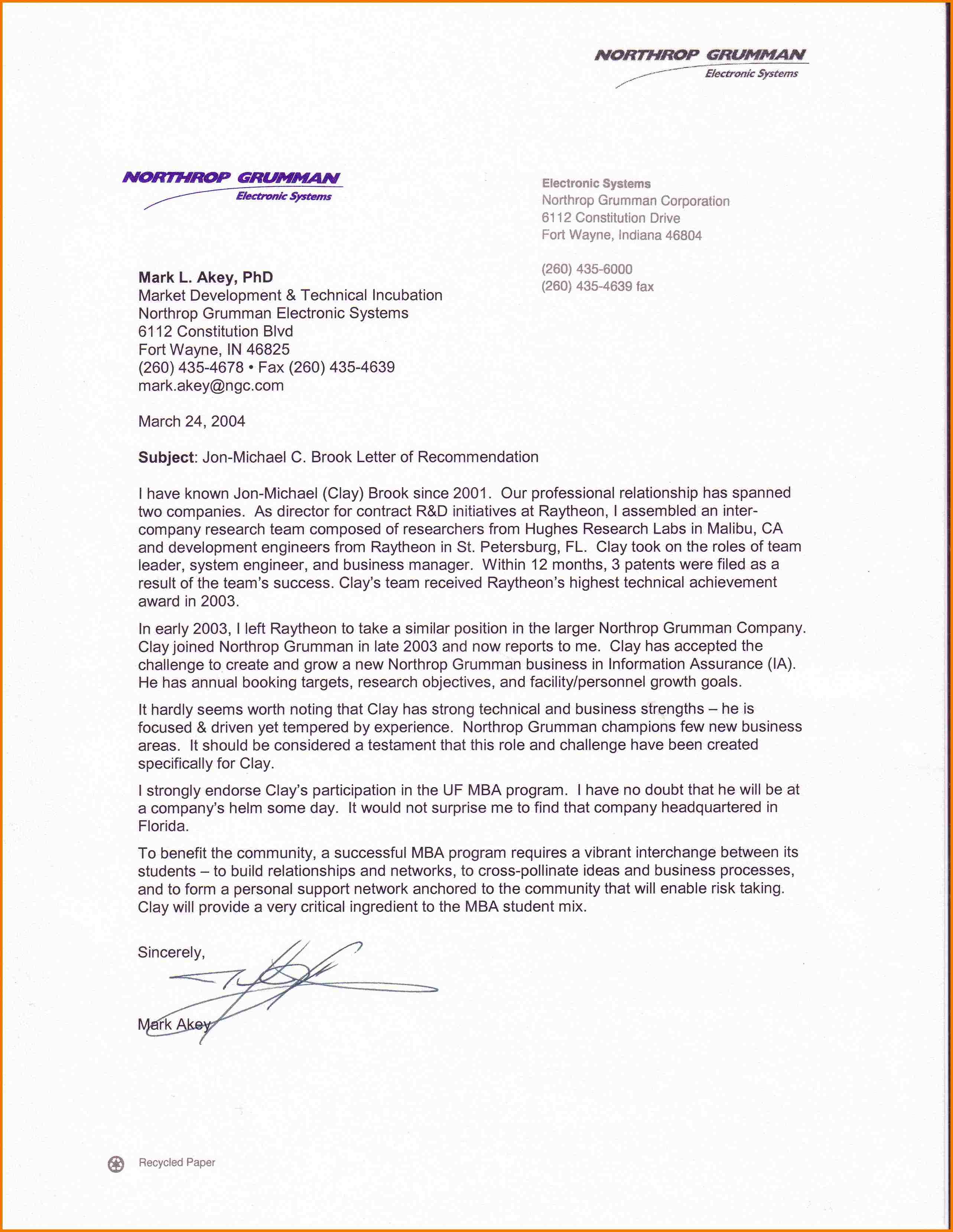 Recommendation Letter For Mba  Templates Free Printable