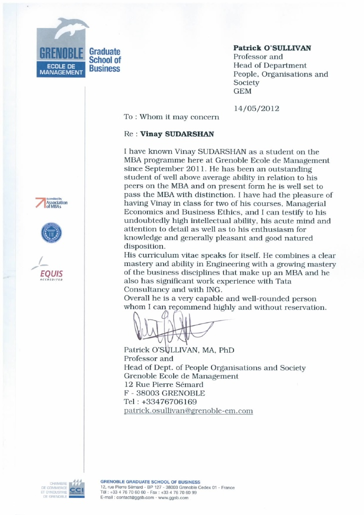 Recommendation Letter For Academic Student sample letter of re