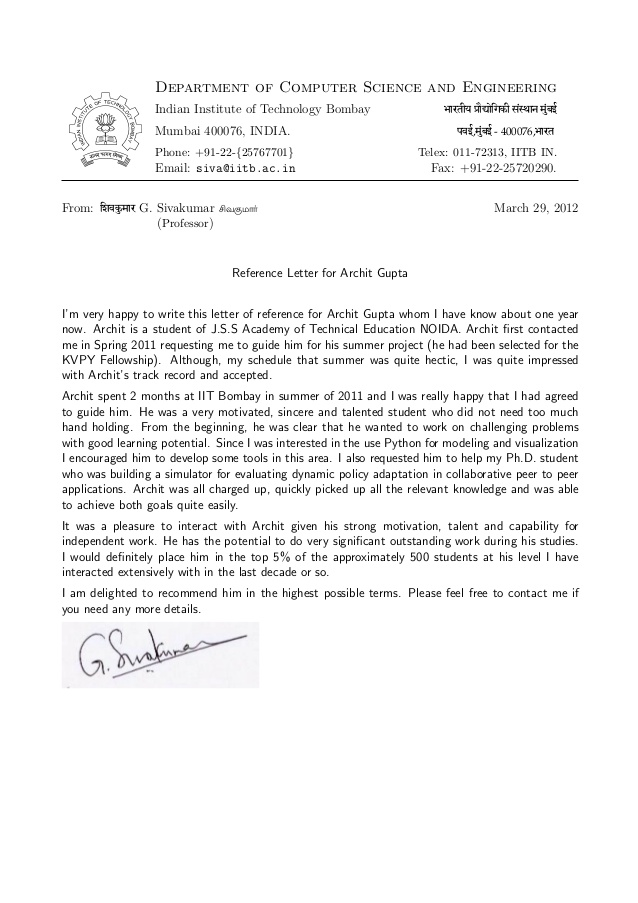 recommendation letter prof. G Sivakumar, H.O.D. cfdvs, IIT BOMBAY