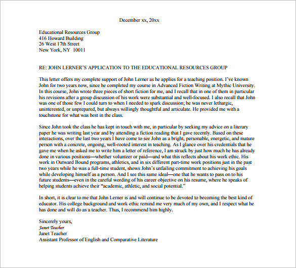 Recommendation Letter Format College Templates Free Printable