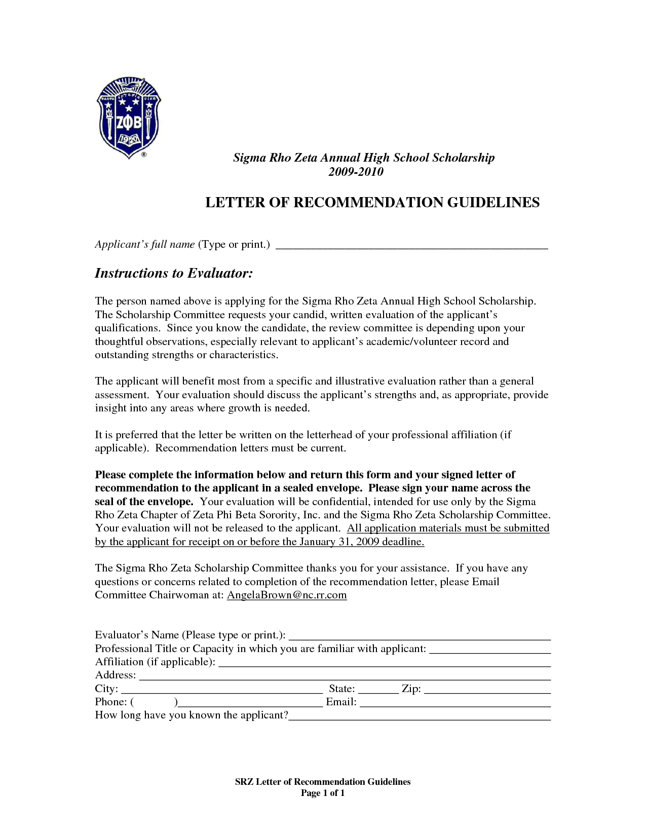 formats for letter of recommendation