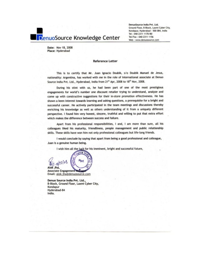 Reference Letter Project Manager DenuoSource Ltd.