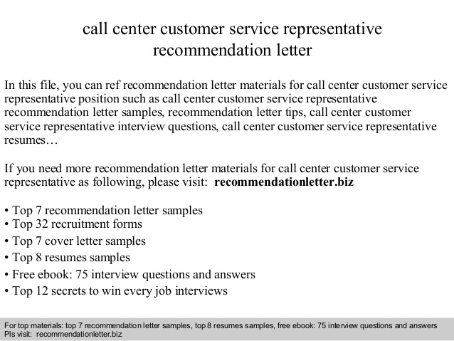 Call center customer service representative recommendation letter