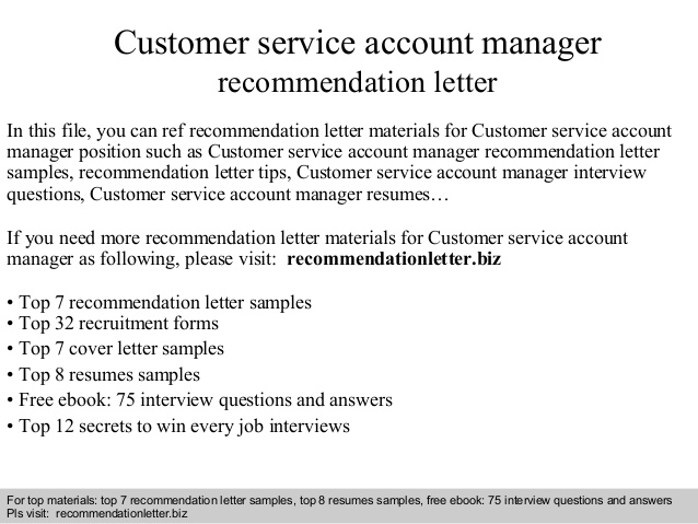 Customer service account manager recommendation letter