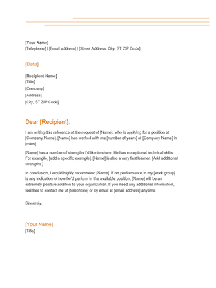 Recommendation Letter Job Reference Template