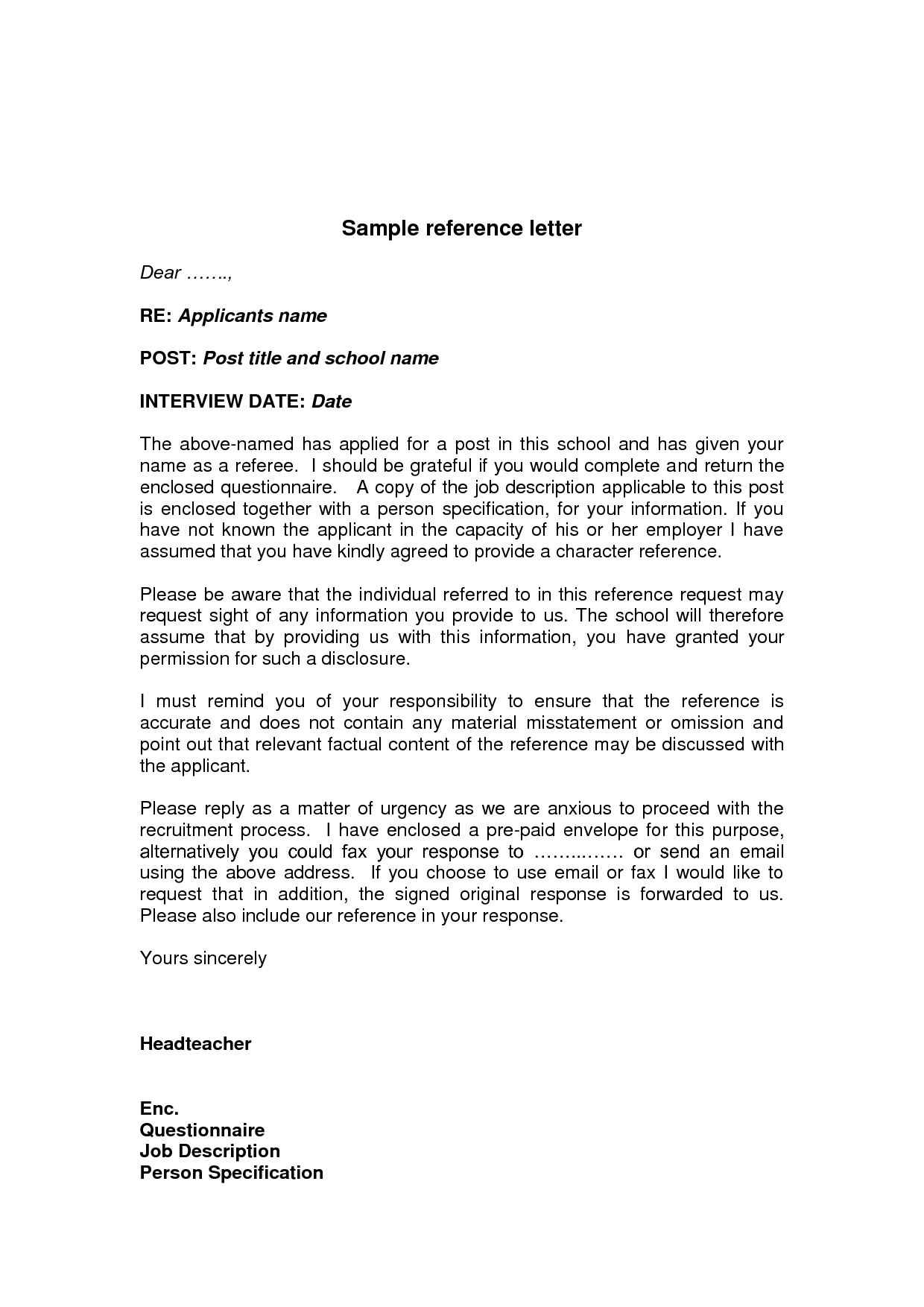 Job Reference Letter Example