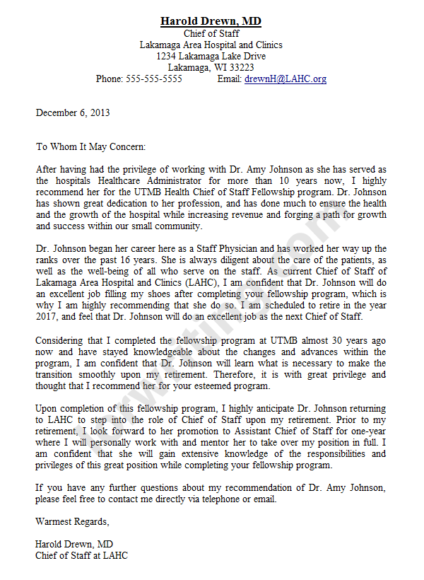 Sample Recommendation Letter For Medical School