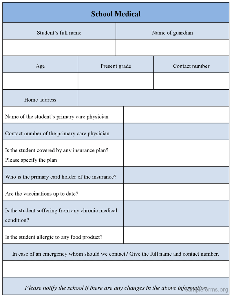 School medical form, sample School medical form | Sample Forms