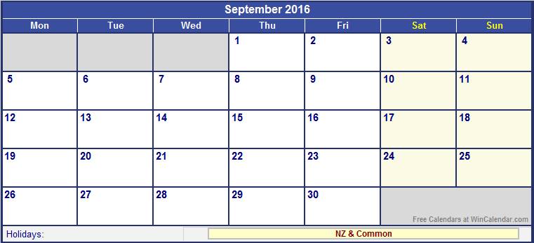 September 2016 New Zealand Calendar with Holidays for printing