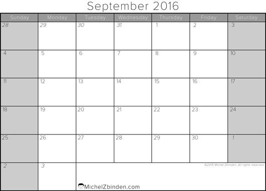September 2016 Calendar Nz | monthly calendar printable