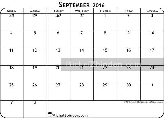 September 2016 Calendar Nz | yearly calendar printable