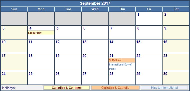 September 2017 Calendar Canada | monthly calendar printable