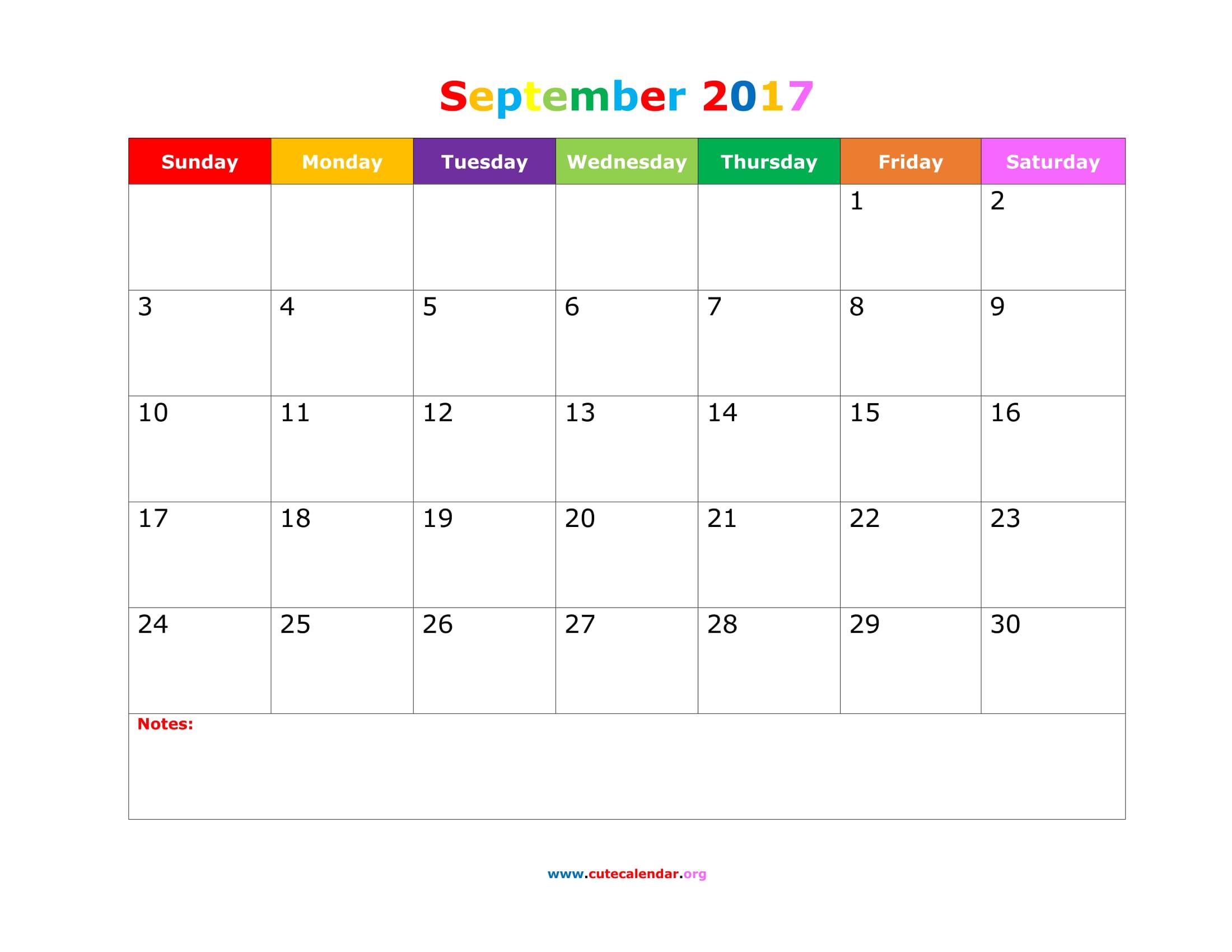 September 2017 Calendar Cute | yearly calendar printable