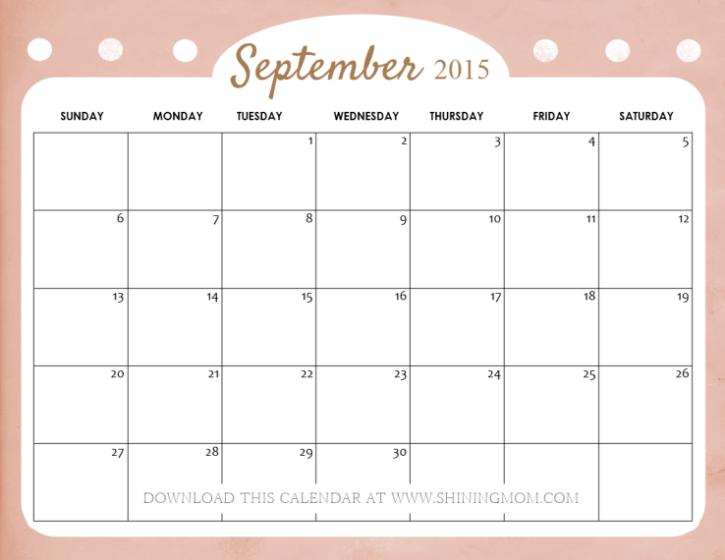 September 2017 Calendar Cute | blank calendar printable