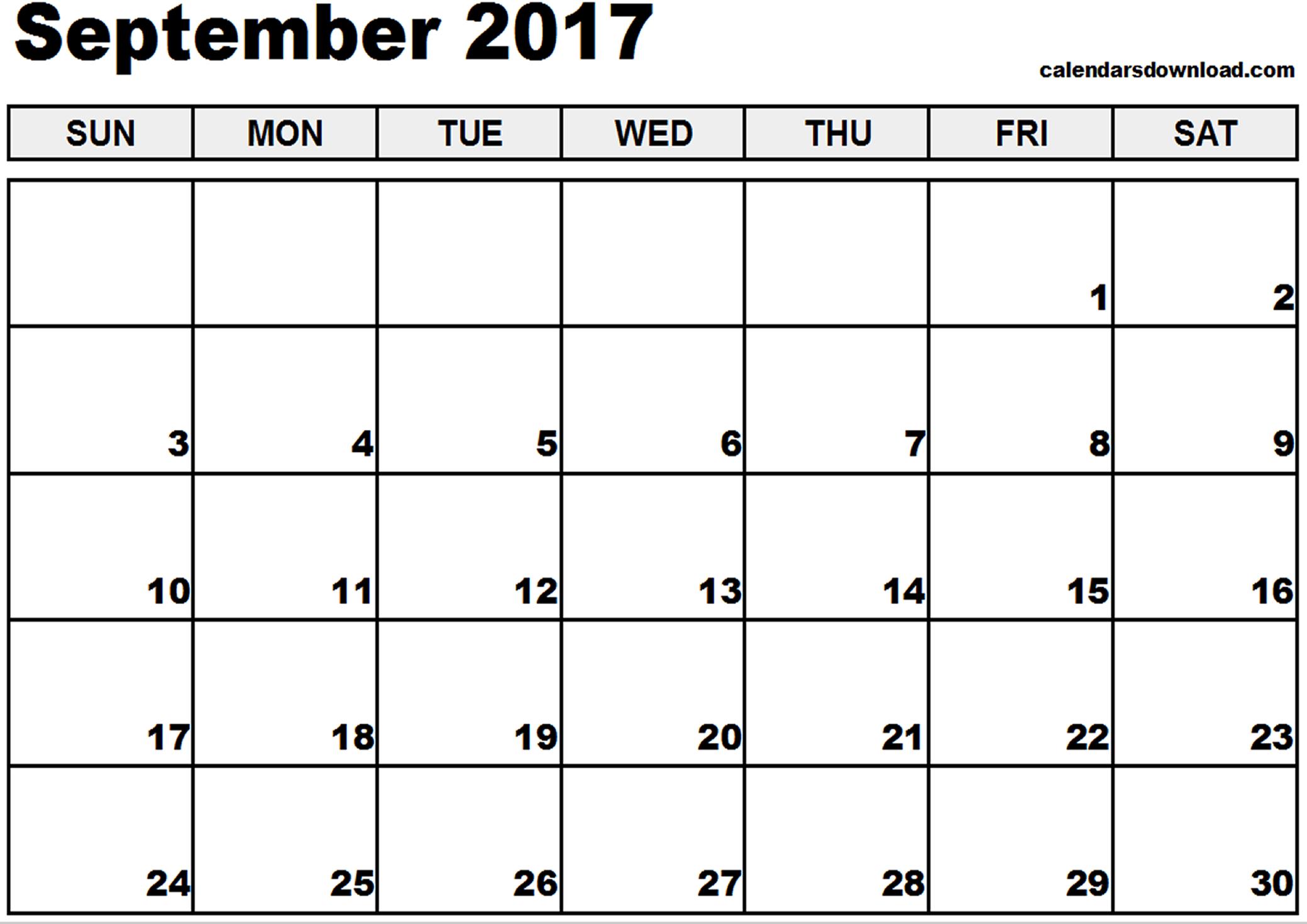 September 2017 Calendar | weekly calendar template