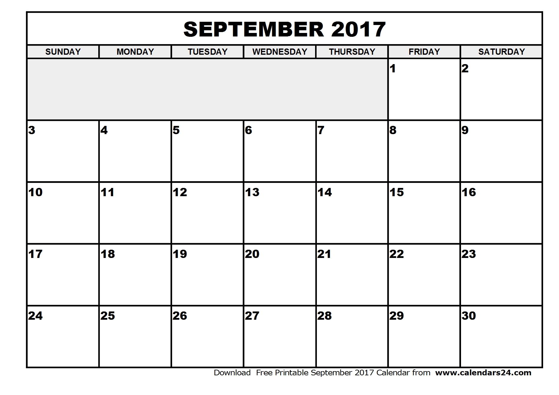 September 2017 Calendar With US Holidays