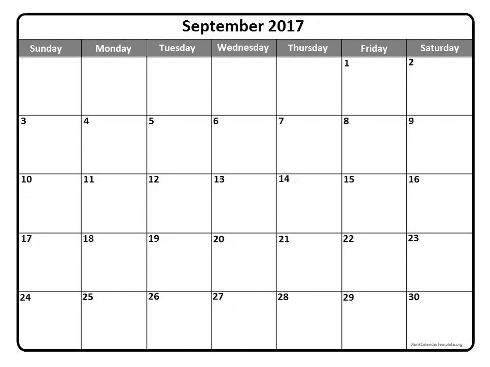 Blank September 2017 Calendar | weekly calendar template