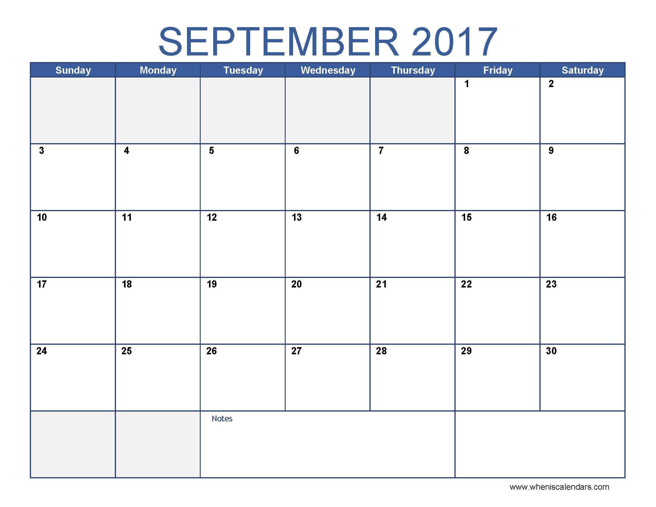 September 2017 Calendar Template Printable Monthly Calendar When